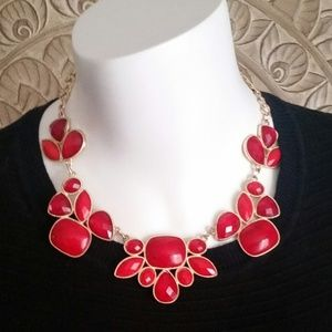 Cherry Red & Gold Tone Fashion Statement Necklace